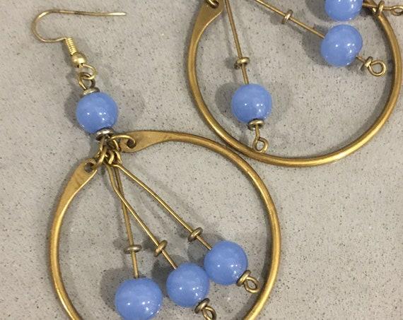 Periwinkle fringy Beaded Hoops, Brassy Golden Boho Gypsy Statement Earrings