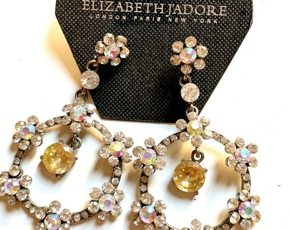 Dainty Crystal Daisy Hoops, 90s glam Designer Runway Statement Earrings by Elizabeth Jadore NYC PARIS London