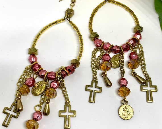 Wicked Cool Gothic Hoops, Pink Crystal Chandelier Statement Earrings with Religious Medal & Cross Charms
