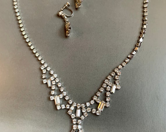Vintage Art Deco Ice Rhinestone Adjustable Choker to Necklace And Statement Earrings, Hollywood Regency Cocktail Party Glamour Jewelry