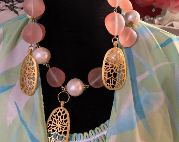 Frosty Pink & Chunky Pearl Statement Necklace Earrings Set, Big Bold Bling, 80s / 90s Glamour Jewelry with Asian Open Work Pendant Dangles