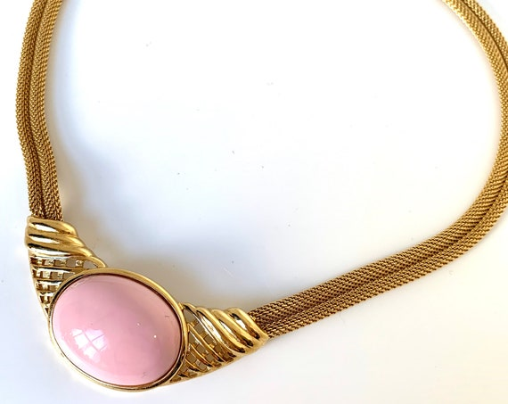 Trifari Pink Angel Skin Lucite & Golden Mesh Choker, Innocent and Sexy Disco Statement Necklace, Resort Glamour Jewelry,70s Costume Jewelry