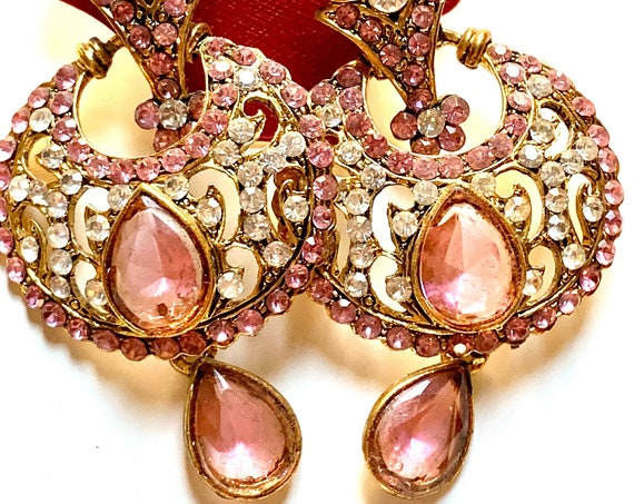 Pink 90s Glam Vogue Statement Earrings, Edwardian Revival Ornate Goldtone and Rhinestone Dome Hoop Teardrop Dangles on Original Card
