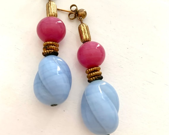 Raspberry and Sky Blue Earrings, Antique European French Art Glass Dangles with Ornate Modern Brass Spacers, Baroque Style Jewelry
