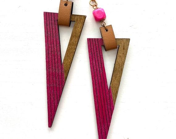 80s Hot Pink Geometric New Wave Boho Wood Super Long Dangle Earrings, Dead Stock