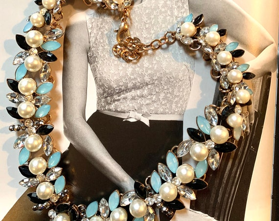 Rhinestones & Faux Gems and Pearl Statement Necklace, Spring Floral, Prom Perfect Glamour Jewelry, Cocktail Party