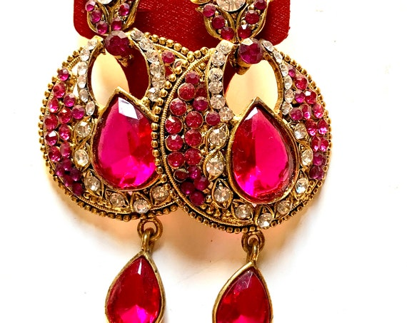 Hot Pink 90s Glam Vogue Statement Earrings, Edwardian Revival Ornate Goldtone and Rhinestone Dome Hoop Teardrop Dangles on Original Card