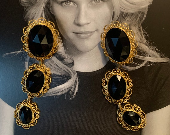 Gothic Marie Ferra Black and Gold Dangles, Dramatic Vintage Glamour Jewelry Statement Earrings