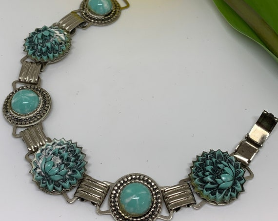 Southwestern Gypsy Cowgirl Carved Floral Faux Turquoise and Ornate Silver Tone Link Bracelet, Mid Century Western Costume Jewelry