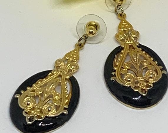 Black Enamel with Ornate Gold tone Dangles,  Victorian Revival Statement Earrings, Elegant  Vintage Costume Jewelry