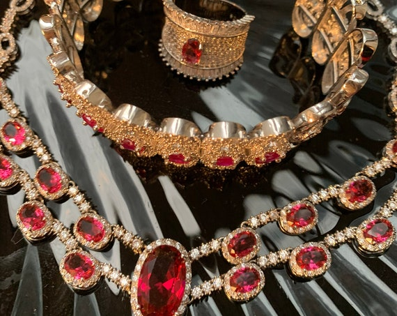 Sexy Ruby Zirconia Art Deco Choker Necklace with Red Ruby accent Bracelet / Cocktail Ring, Formal Ball Dress Statement Jewelry Set