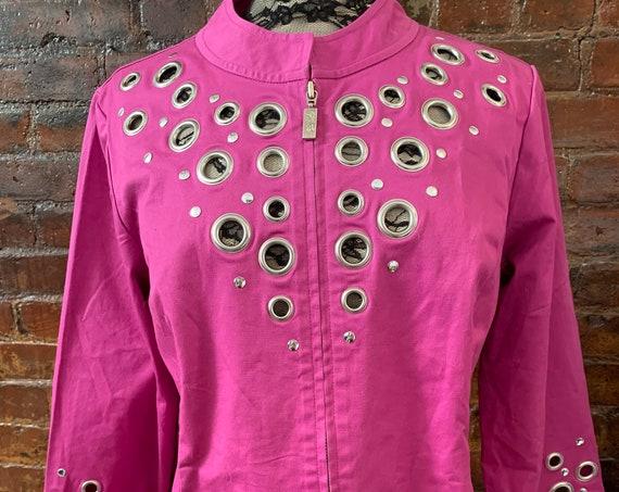 Bob Mackie Raspberry Hot Pink Jacket with Metal Grommet Studs, Glamorous Wearable Art Designer Vintage Clothing
