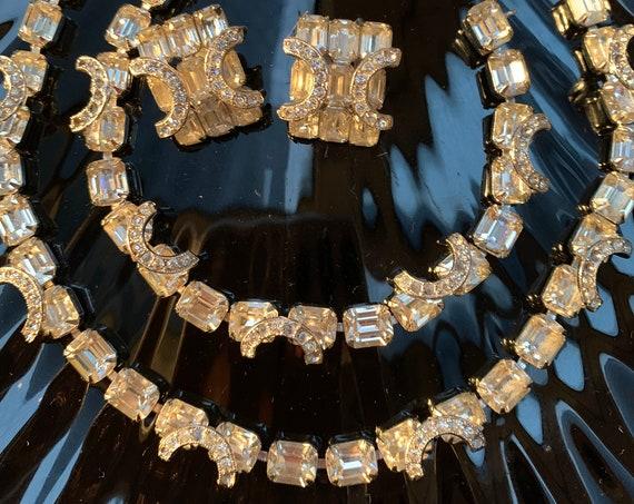 Estate Eisenberg Horseshoe Ice Rhinestone Jewelry Set, signed Choker Necklace Bracelet & Statement Earrings, New Years Eve Date Night Bling