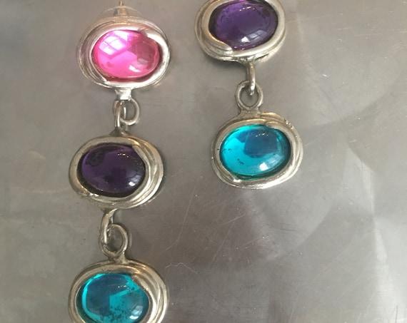 Awesome 80s Earrings, Pink Purple & Blue Glass Gems in Modernist Silvertone Dangles