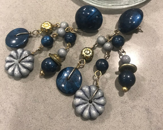 Trending Steal Blue Boho Dangles with Matte Silver & Gold Floral beaded Funky Fringe, Fun Vintage Gypsy Earrings
