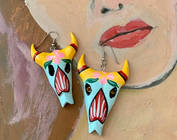 Boho Gypsy Western Skull Earrings, Artisan Carved Wood Rainbow Hand Painted Tribal Southwestern Bull Cowboys Motif Dangles