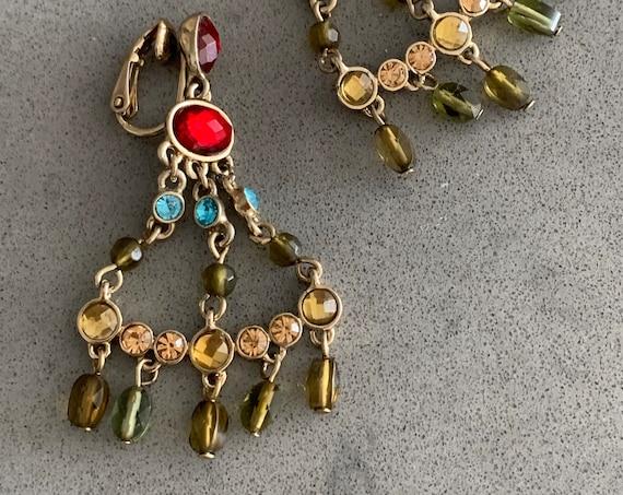 Boho Gypsy Glam Chandelier Dangles, Vintage 90s Tribal Mogul Rainbow Gems & Crystal Beaded Statement Earrings,  Signed LC
