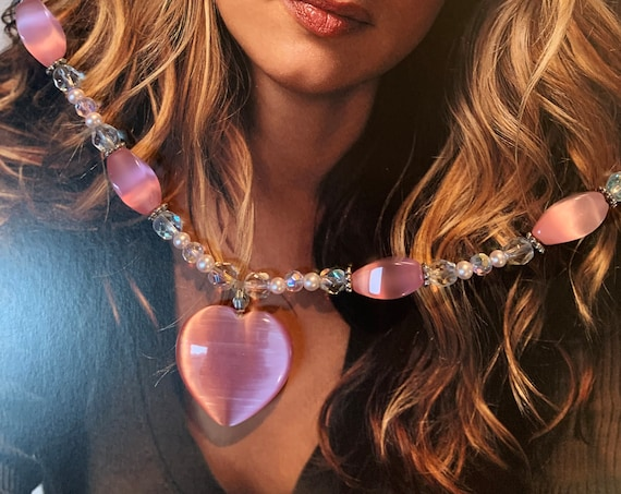 Pretty in Pink Thermoset Heart Beaded Necklace, Shimmering Vintage Choker