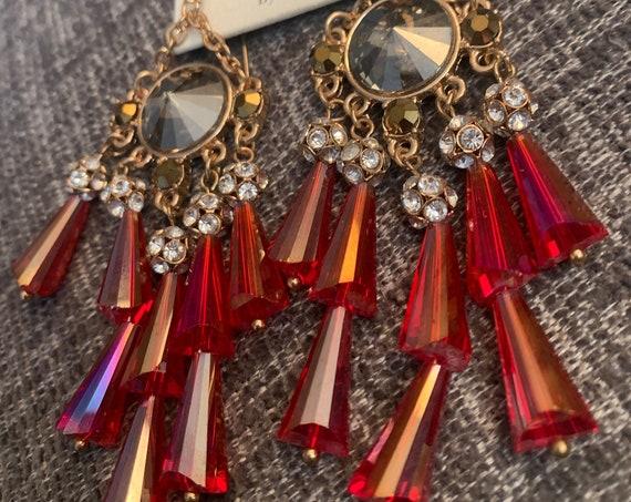 Red Crystal Chandelier Earrings, Iridescent Red, Smokey Rivoli & Crystal Rhinestone Gothic Showgirl Bridgerton Burlesque Statement Earrings
