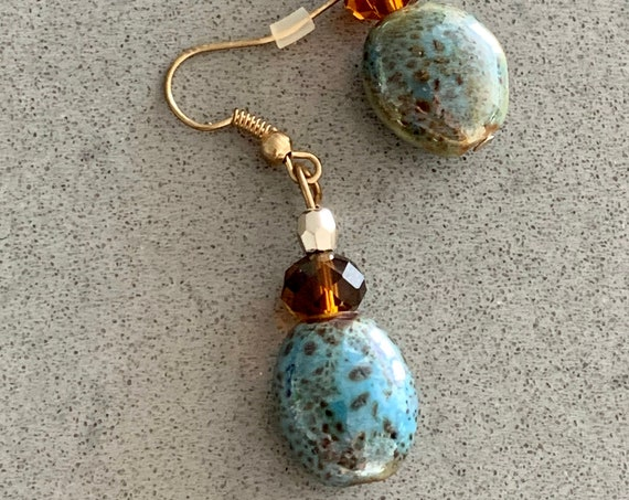 Boho Glam Gypsy Dangles, Iridescent Blue and Bronze Art Glass Beads with Root Beer & Golden Crystals, Elegant Artsy Vintage Earrings