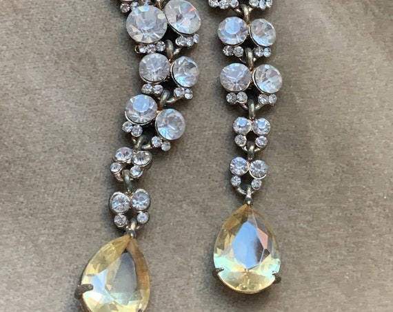 Long Floral Rhinestone Dangles with Pale Yellow Crystal Teardrops, Sparkly Runway Statement Earrings