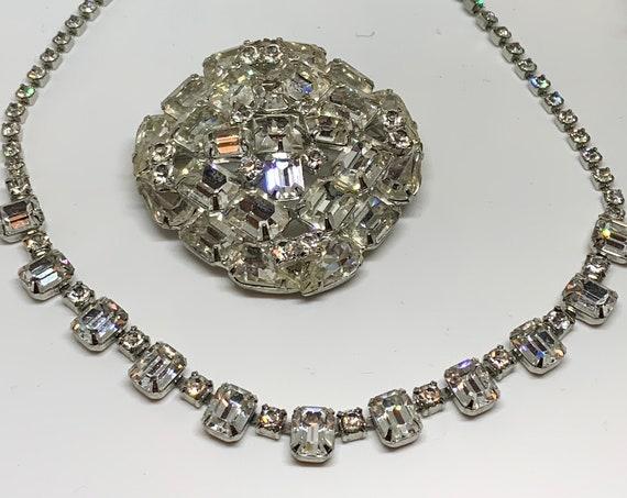 Weiss Rhinestone Choker And Pin, Signed Quality Estate Jewelry Set