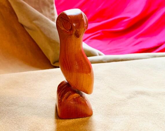 Mid Century Carved Wooden Bird Owl Figurine, Small Minimalist Statue Signed Ken Standing Deer
