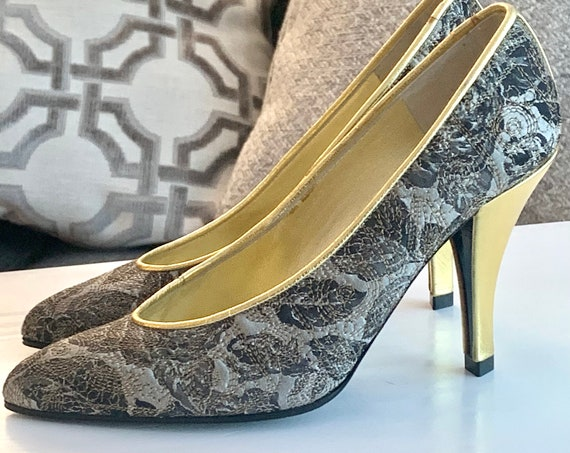 Charles Jourdan Pumps, Cinderella 90s Glam French Designer Quilted Black & Silver Damask with Sexy Gold High Heel Shoes , size 5.5 M