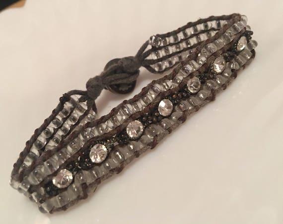 Beautiful crystal & Rhinestone beaded Gray Cord Boho Holiday Hippy Bracelet