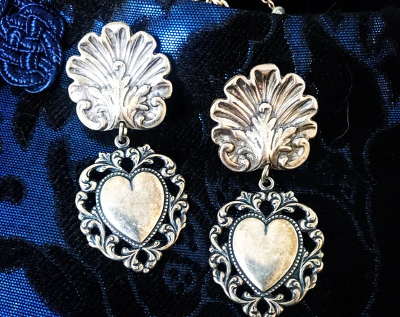 Victorian Revival Heart Dangles, Gothic Pressed Antiqued Silvertone Statement Earrings, Romance Never Goes Out of Style