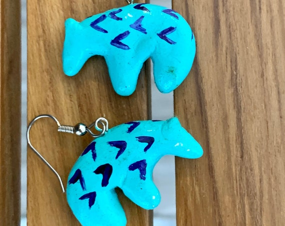 Artisan Tribal Bear Dangles, Southwestern Style Turquoise Blue Hand Carved and painted Fetish Animal Vintage Earrings