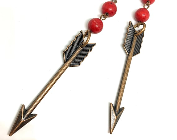 Long Bronze Arrow Dangles with Red Coral Beads, Edgy Boho Tribal Vintage Earrings, 4 inches long!