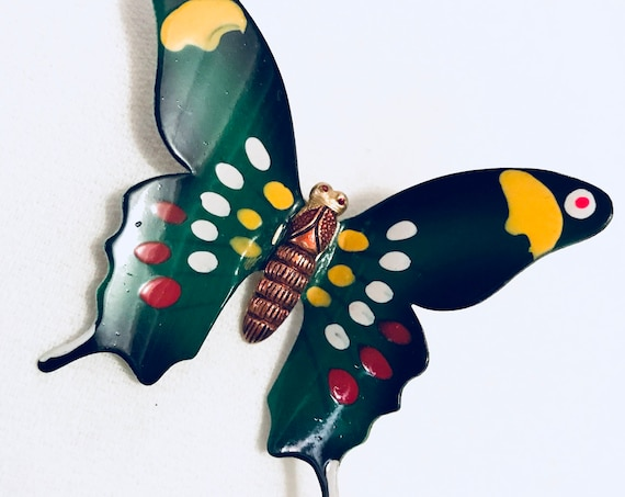 Korean Vintage Brass & Enamel Butterfly Brooch Beautiful Colors- Kelly Green Red Black Yellow Wings on Enamel Pin