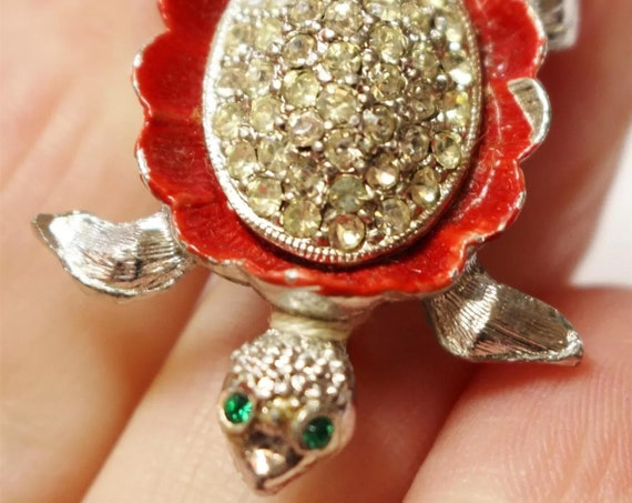 Adorable Little Red Enamel Turtle Pin with Rhinestones
