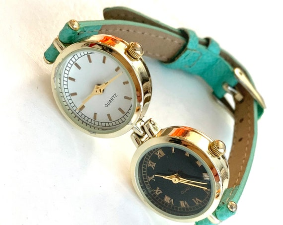 Two Faced Watch, Double Time Zones with Mint Green Band, Crypto Stock Trader Multitime Zone Watcher, Long Distance Relationships too!