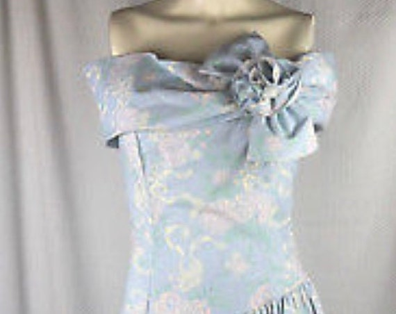 VTG 80's Gunne Sax Jessica McClintock Dress Pastel Blue Floral off shoulder sz 9