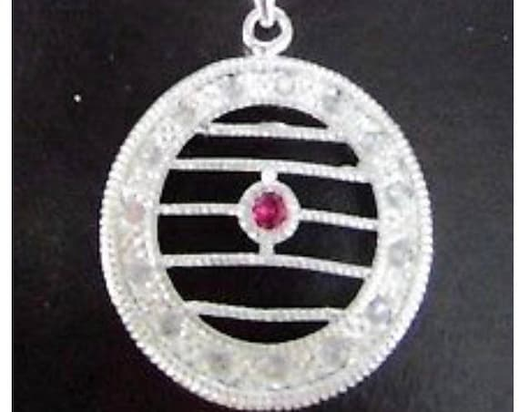 Genuine Ruby Silver Plate Necklace Earring Set Nautical Romanesque or Greek sort of Style
