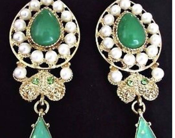 Exceptionally Beautiful  3.75  INCH Moghul Chrysoprase Cabochons & Rhinestones Runway Statement  Earrings