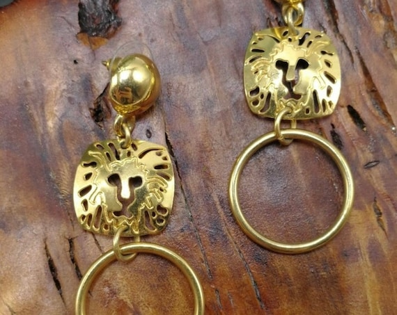 Vintage Anne Klein Lion Logo & Hoop Dangle Earrings, Awesome 80s Designer Jewelry, Chic Openwork Goldtone Glamour Jewelry