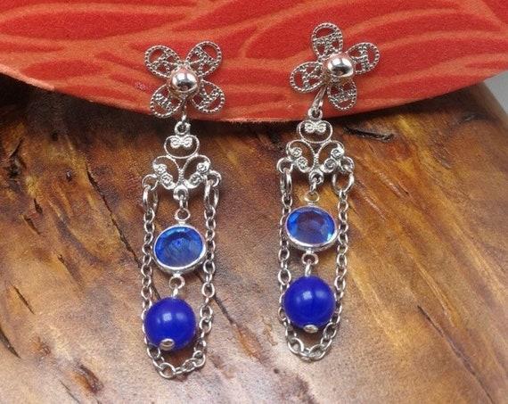 Vintage Park Lane Blue Dangle Earrings, Cobalt Blue Lucite Crystals & Silvertone Filigree Chandelier Dangle Earrings, Mint unworn Clip ons