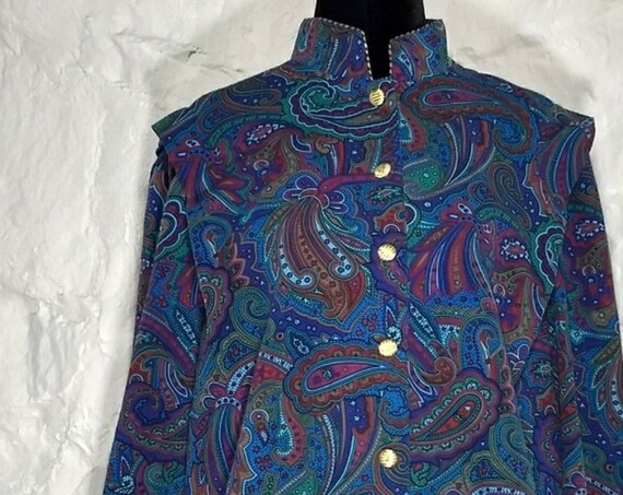 Vintage Blue Paisley Colorful Mandarin Collar Jacket Top with Gold Buttons
