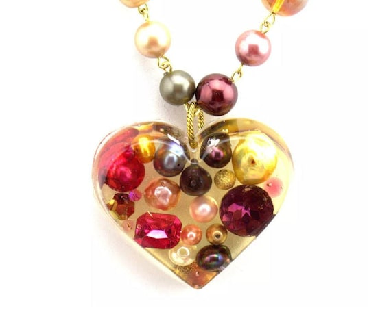 GAY ISBER Lucite Puffy Heart Punky Designer Fashion Runway Statement Necklace