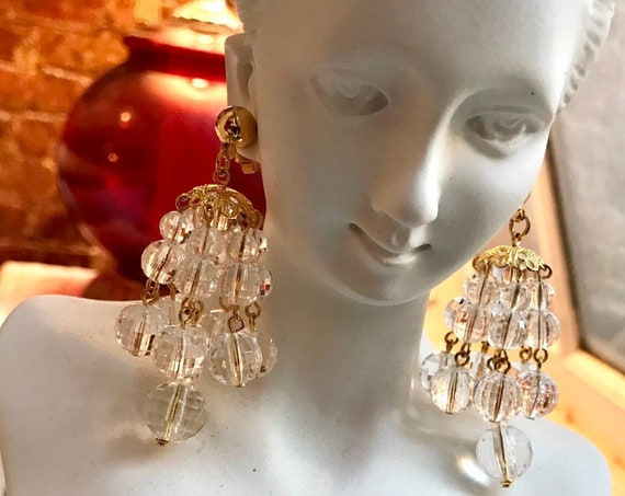 AVON Faceted Shower Crystal Clear Lucite Chandelier Dangles with goldtone filigree tops & surgical steel posts unworn in original box 1992