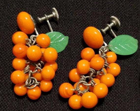 Mid Century Japanese Glass Beaded Citrus Oranges Dangle tutti fruity Earrings, Mini Oranges Cluster Earrings