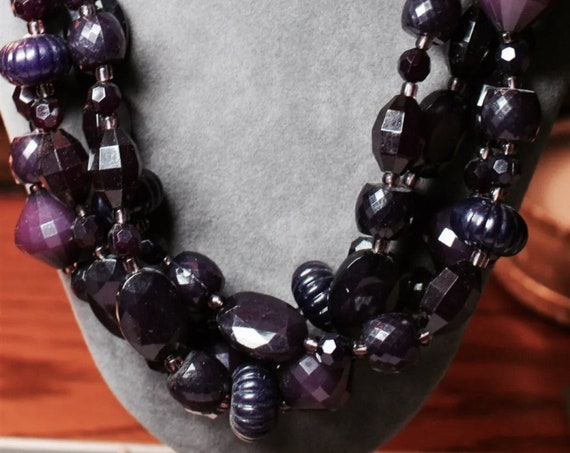 Cascading strands of Deep Purple molded plastic beads & Openwork Filigree Domes, Make a Statement Necklace in lush Now Trending sultry color