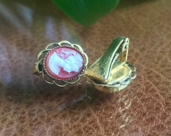 Tiny Vintage Cameo Earrings, Mid Century Romantic Victorian Revival 70s Lady Cameo in Ornate Dainty Clip ons