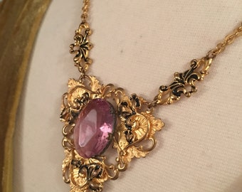 3374e8cb6e65ec RESERVED for a shoot Romantic Amethyst Purple Gem Necklace, Ornate Gold  Tone Victorian Revival Edwardian Art Vintage Necklace, sentimental