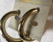 Vintage on card Large Plastic Goldtone Coated Light Weight Big Hoop Earrings