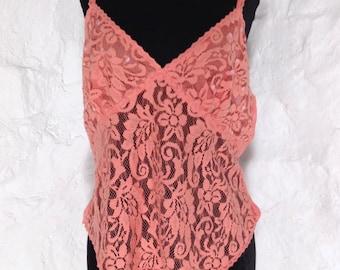 da024200e Vintage Victoria s Secret Pinky Peachy Coral Lace Tank Camisole Top