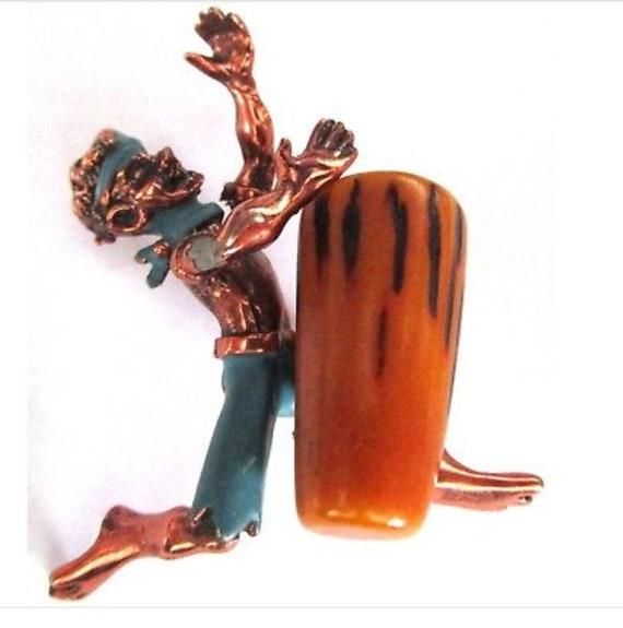 CHARLES WORTH 1950's Tribal Dancer Bakelite noteWORTHy Vintage Copper Pin Brooch
